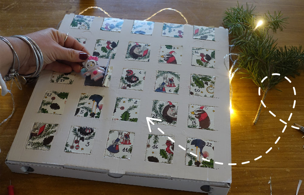 Calendario dell'Avvento con scatola della pizza